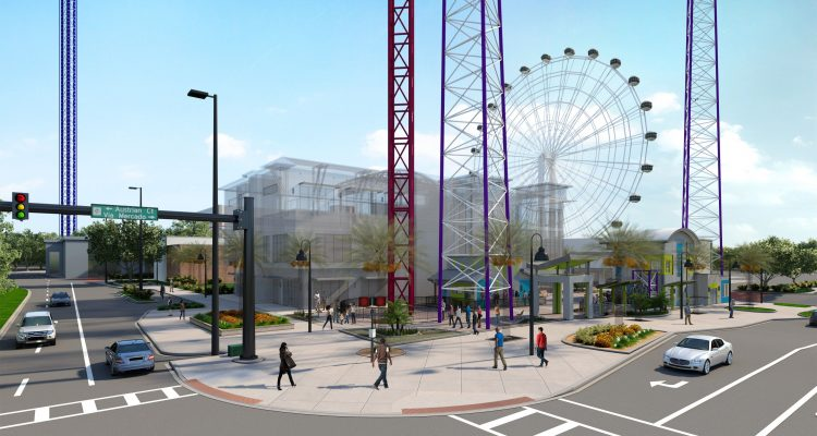 Icon Park drop tower and slingshot rendering