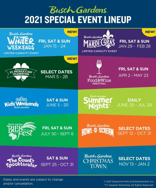 Busch Gardens Williamsburg events for 2021